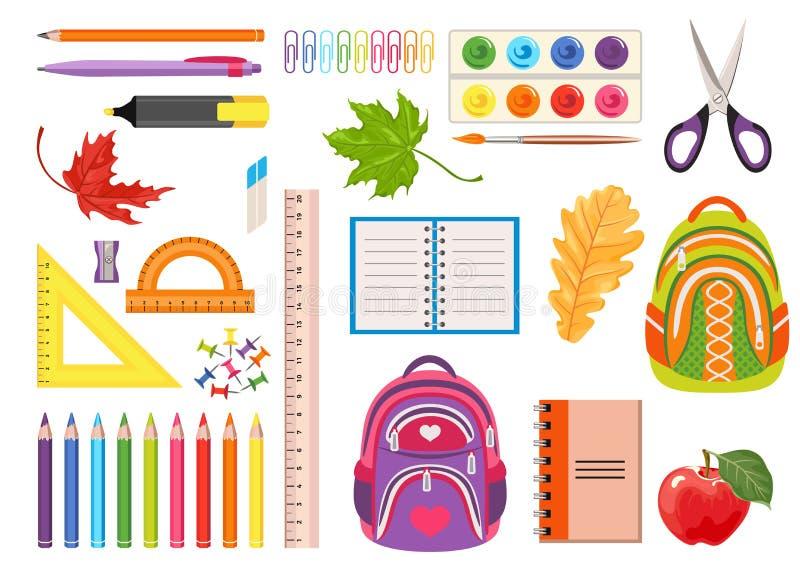 Satz Schulbedarf Vektorillustration von Einzelteilen für das Lernen, Malerei lizenzfreie abbildung