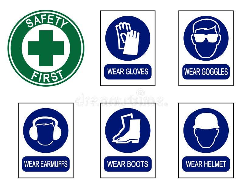 Satz Schutzausrüstungszeichen stockfotografie