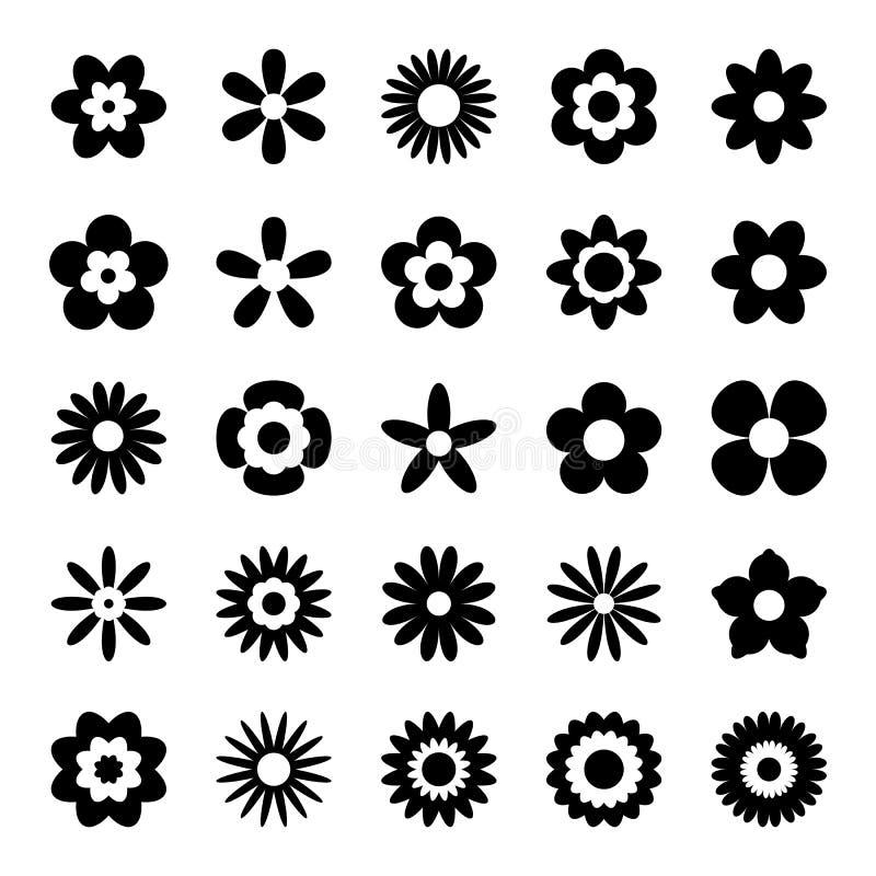 Satz schwarze Blumen-Ikonen lokalisiert auf Weiß lizenzfreie abbildung