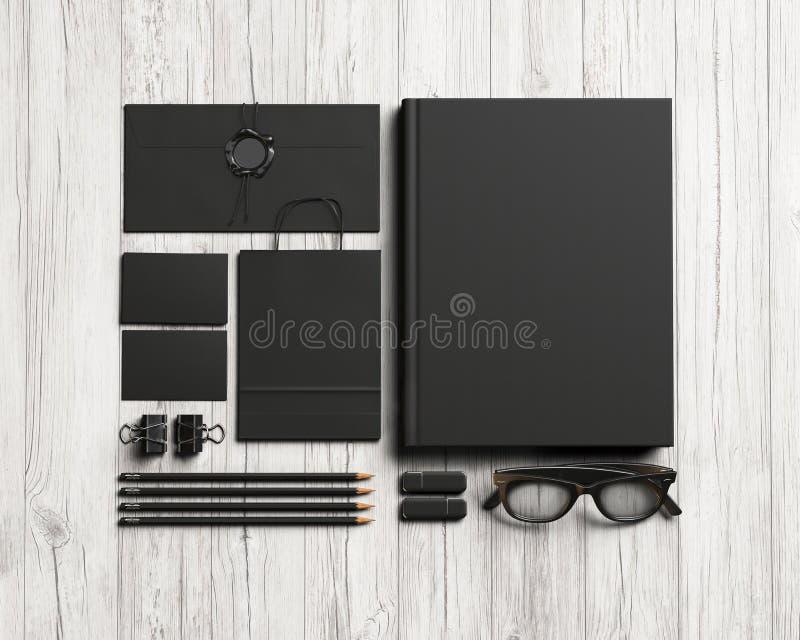 Satz schwarze Briefpapierelemente stockfotos