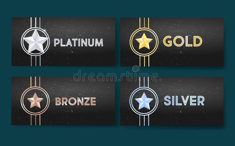 Satz schwarze Fahnen mit Gold, Platin, Silber und Bronze spielt, Medaille, Leistung die Hauptrolle stockfoto