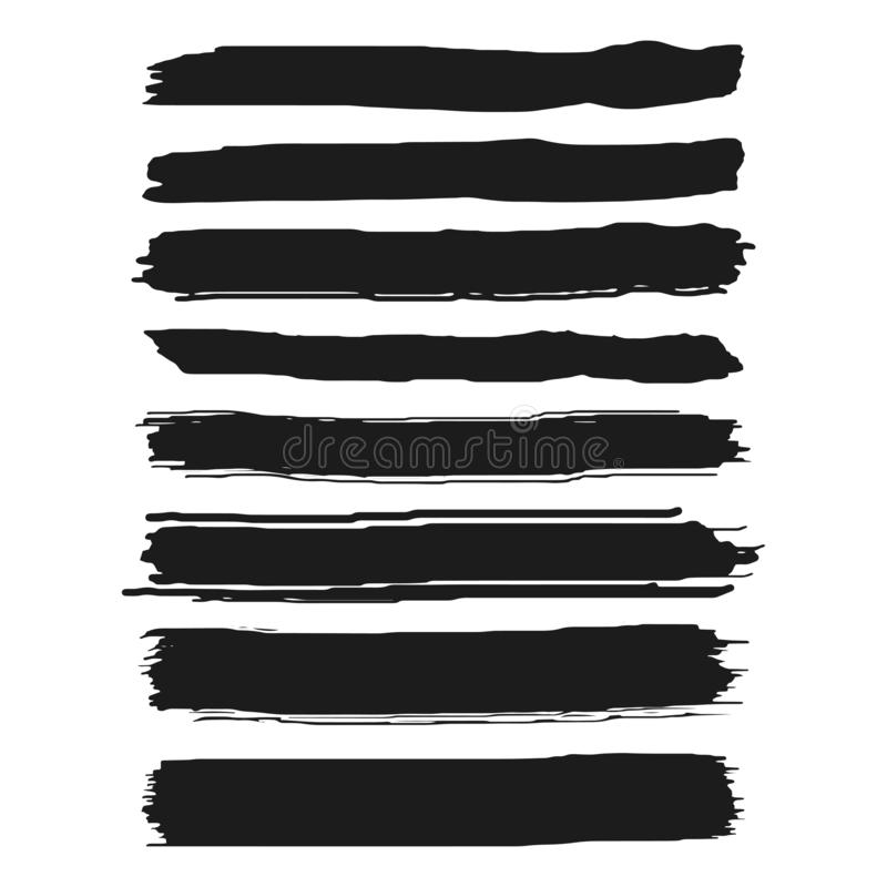 Satz schwarze Farbe, Tintenbürstenanschläge, Bürsten, Linien Künstlerische Gestaltungselemente des Schmutzes Getrennt auf weißem  stock abbildung