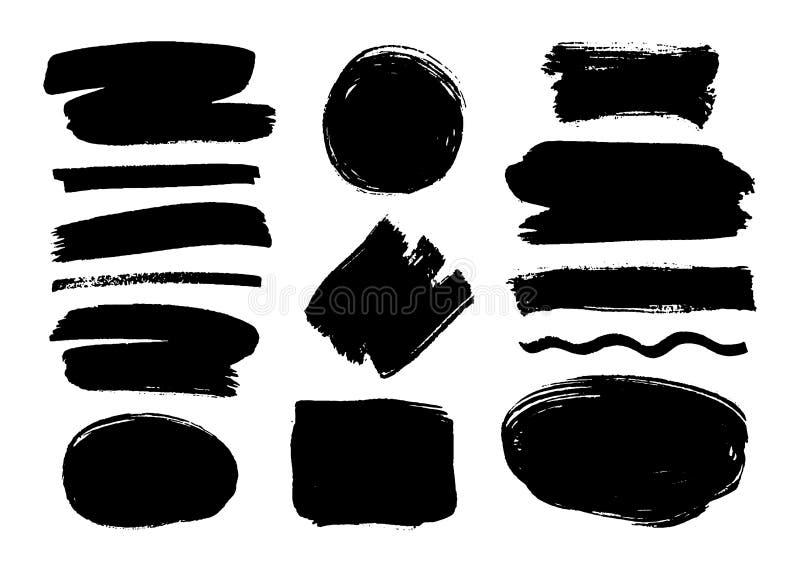 Satz schwarze Farbe, Tintenbürstenanschläge, Bürsten, Linien Schmutzige Gestaltungselemente, Kästen, Rahmen für Text lizenzfreie abbildung
