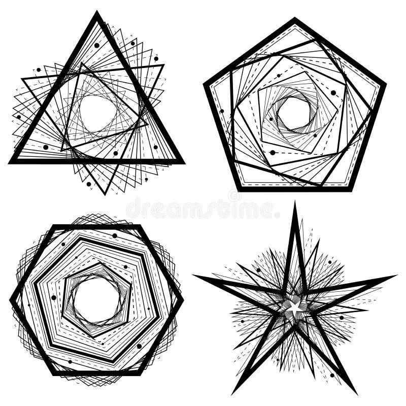 Satz schwarze geometrische Formen der einfachen Zusammenfassung von schneidenen Linien Auch im corel abgehobenen Betrag stock abbildung