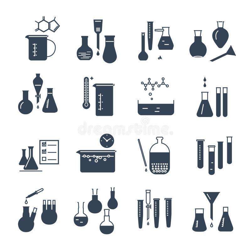 Satz schwarze Ikonen chemische Laborausstattung und Flasche vektor abbildung
