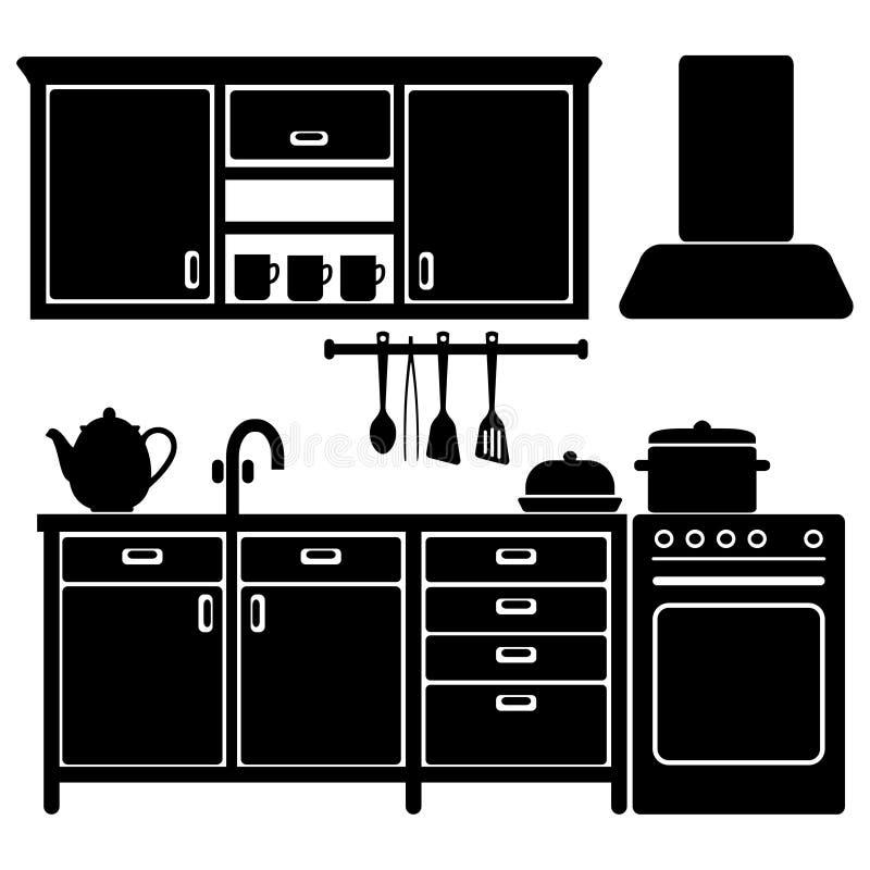 Satz Schwarze Küchenikonen, Geräte, Vektor Abbildung - Illustration ...