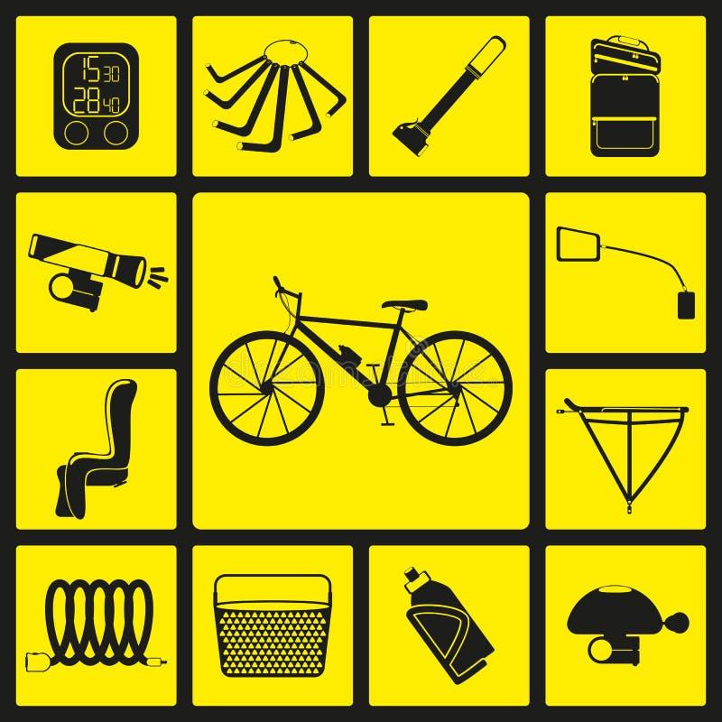 Satz schwarze Schattenbildikonen des Fahrradzubehörs stock abbildung