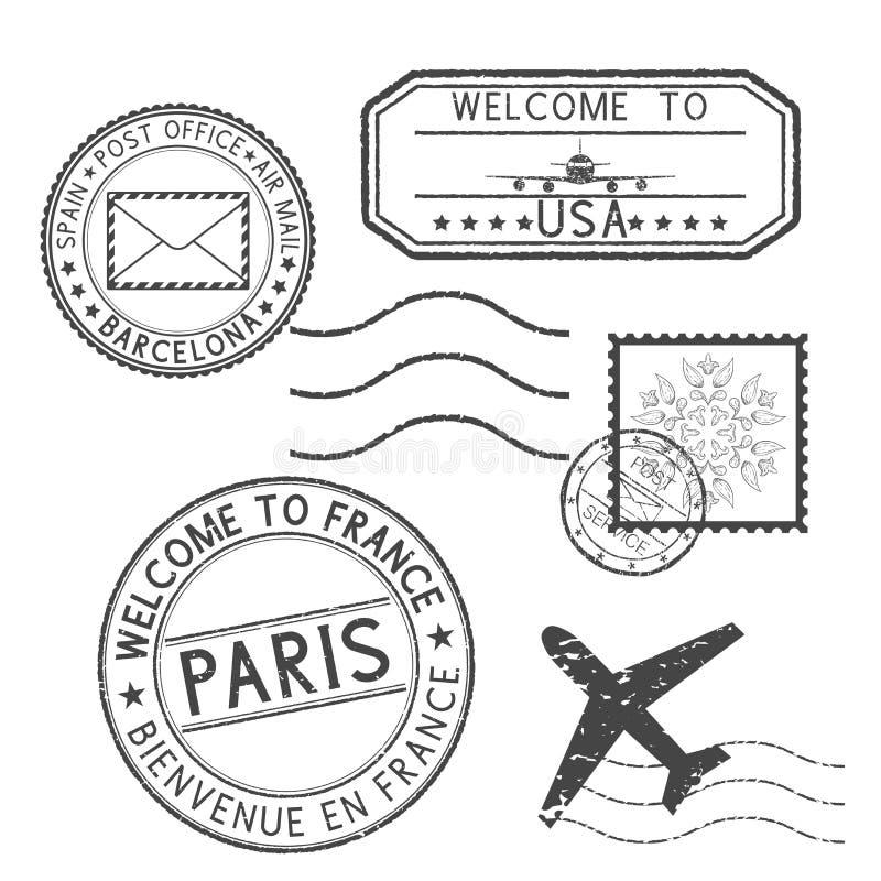 Satz schwarze Stempel Poststempel-und Reisestempel Willkommen nach Frankreich, Willkommen nach USA stock abbildung