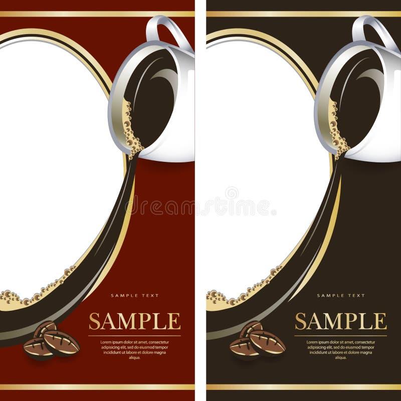 Satz Schwarzen und Rotaufkleber für Schokolade oder coffe lizenzfreie abbildung