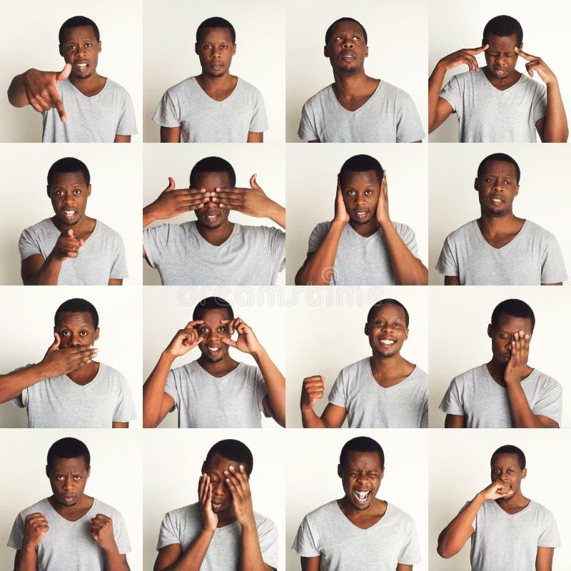Satz schwarzer Mann ` s Porträts mit verschiedenen Gefühlen stockbild
