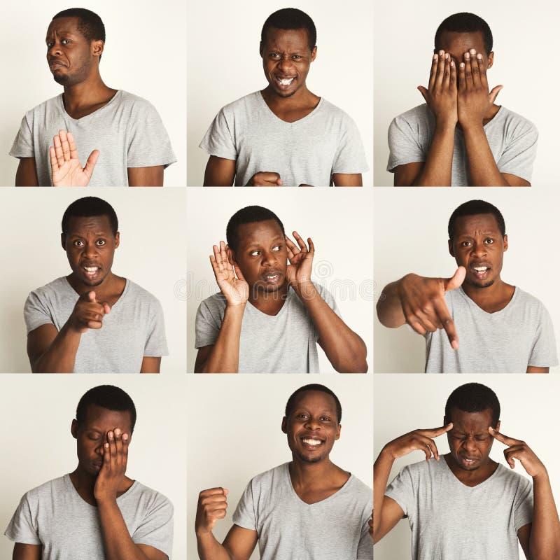 Satz schwarzer Mann ` s Porträts mit verschiedenen Gefühlen stockfotos