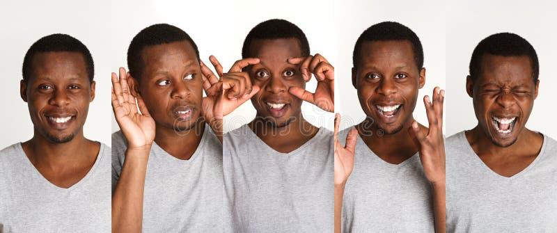 Satz schwarzer Mann ` s Porträts mit verschiedenen Gefühlen stockfotografie