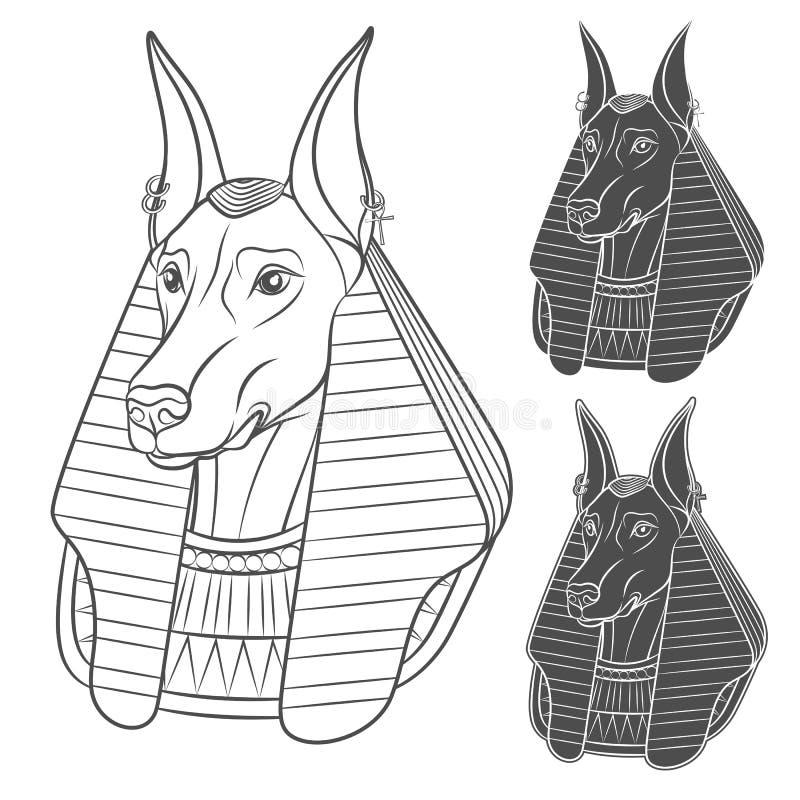 Satz Schwarzweiss-Bilder mit Anubis vektor abbildung