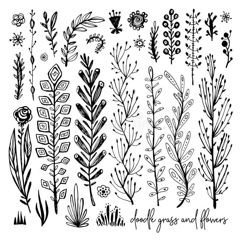 Satz Schwarzweiss-Gekritzelelemente Anlage, Gras, Büsche, Blätter, Blumen Vektorillustration, großes Gestaltungselement stock abbildung