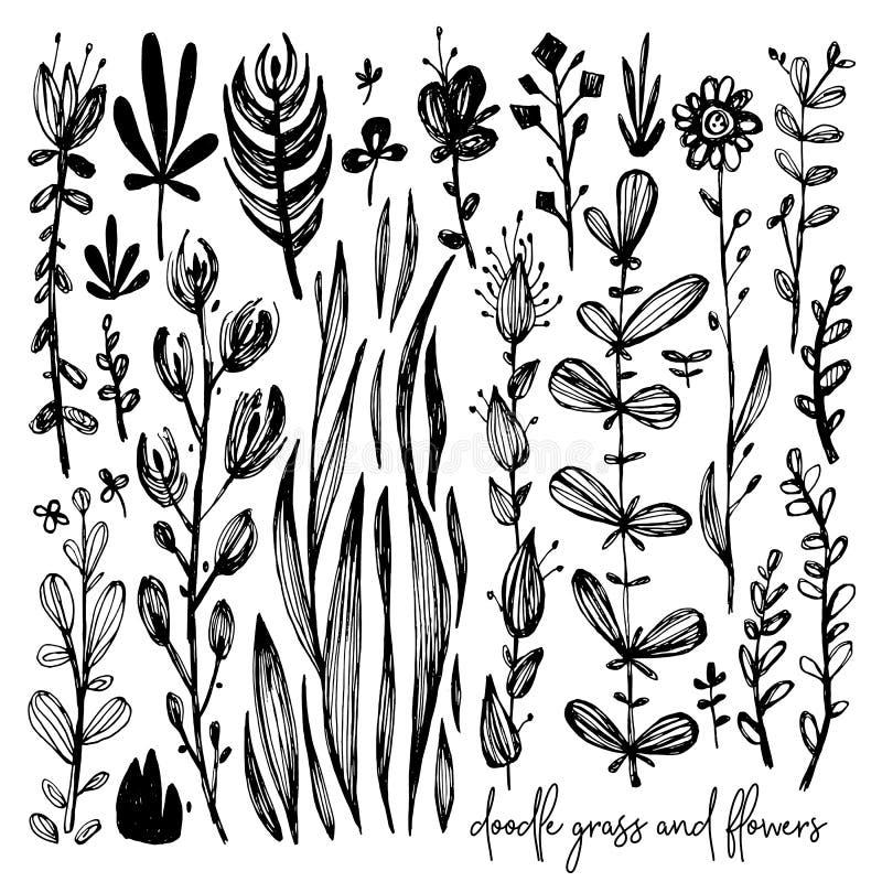 Satz Schwarzweiss-Gekritzelelemente, Wiese, stieg, bedeckt mit Gras, bepflanzt, Blätter, Blumen mit Büschen Vektorillustration, g stock abbildung