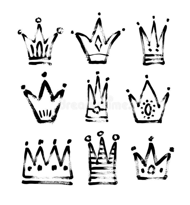 Satz Schwarzweiss-Zeichnungsprinzessin der Skizze 9 und Königcr lizenzfreie abbildung