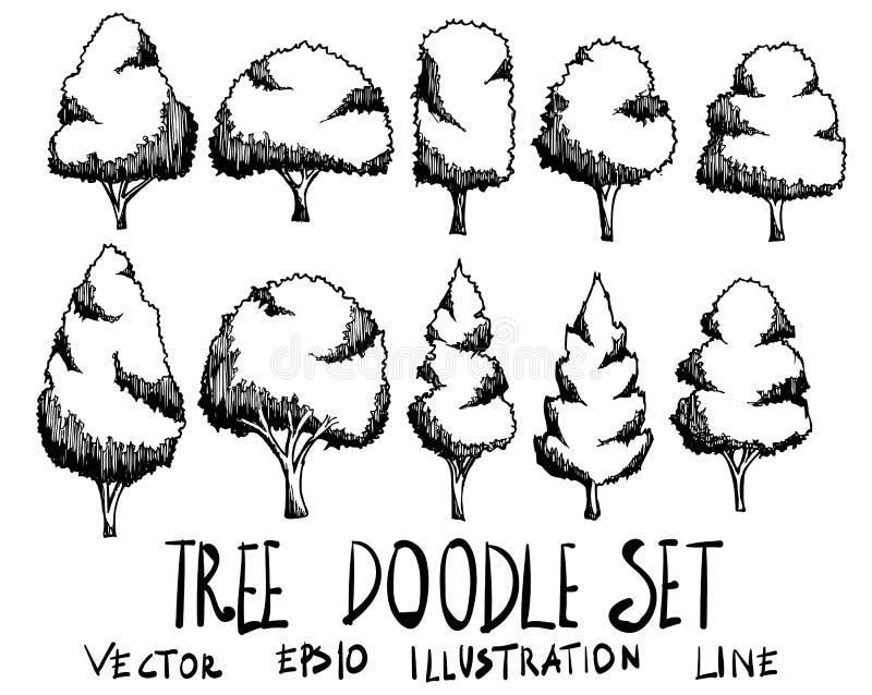 Satz Skizzenlinie ep Gekritzel der Baumillustration der Hand gezeichneten stock abbildung