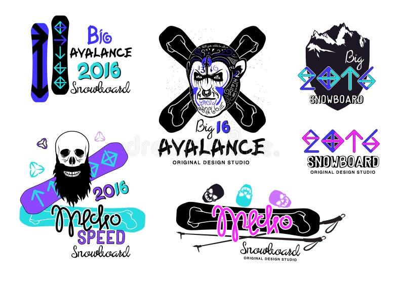 Satz Snowboardlogos, -embleme und -Gestaltungselemente stock abbildung