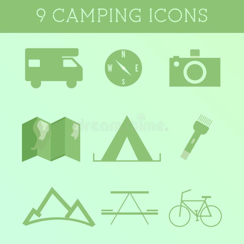 Satz Sommer-im Freien kampierende Ikonen Rv-, motorhome- und Reiseelemente Flaches Design auf grünem Hintergrund lizenzfreie abbildung