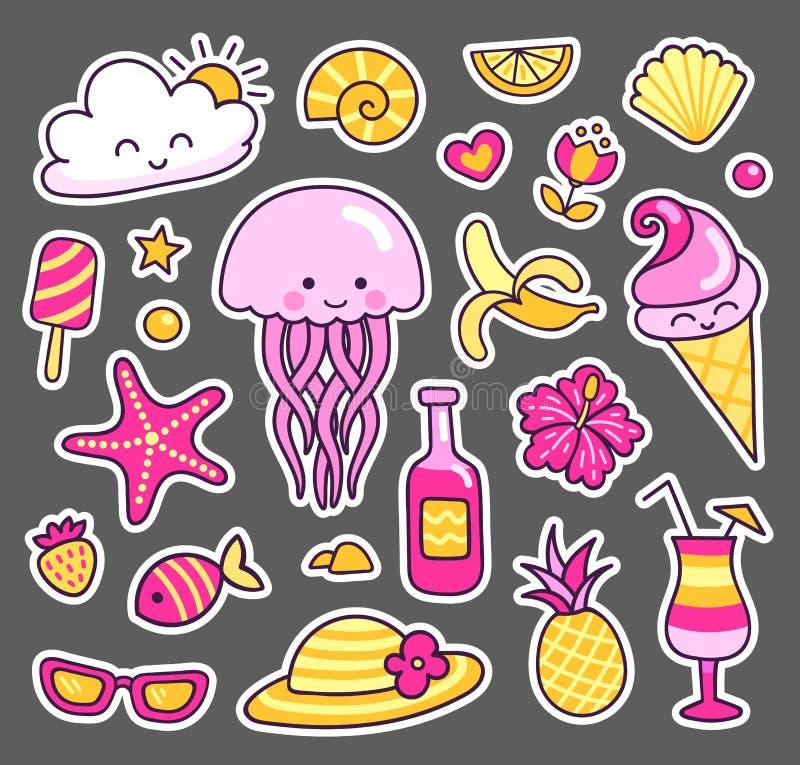 Satz Sommeraufkleber Quallen, Eiscreme, glückliche Wolke, Seeoberteil und tropische Früchte lizenzfreie abbildung