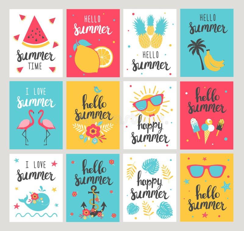 Satz Sommerferienkarten Hand gezeichneter schöner Poster stock abbildung