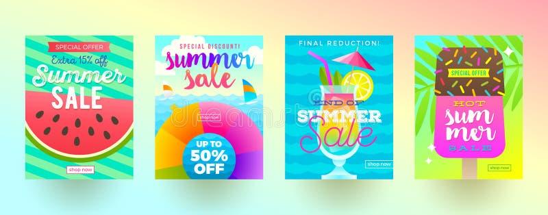 Satz Sommerschlussverkaufförderungsfahnen Ferien, Feiertage und bunter heller Hintergrund der Reise Plakat- oder Newsletterdesign lizenzfreie abbildung