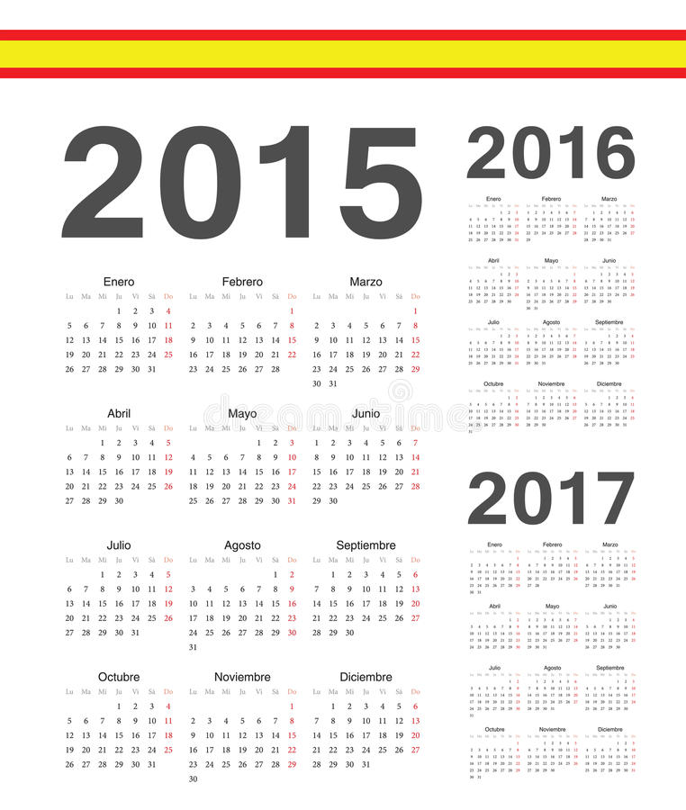 Satz Spanisch 2015, 2016, 2017-jährige Vektorkalender lizenzfreie abbildung