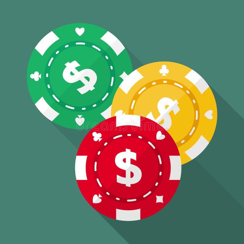 Satz spielende Chips des Kasinos vector flache Ikonen stock abbildung