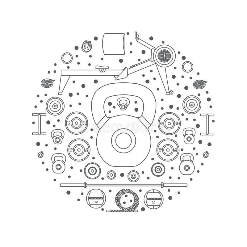 Satz Sportausrüstung Linie Art vektor abbildung