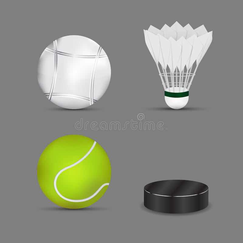 Satz Sportbälle mit grauem Hintergrund Boulesball Federball- oder Badmintonball Lokalisiert auf weißem Hintergrund Eishockeyball  vektor abbildung
