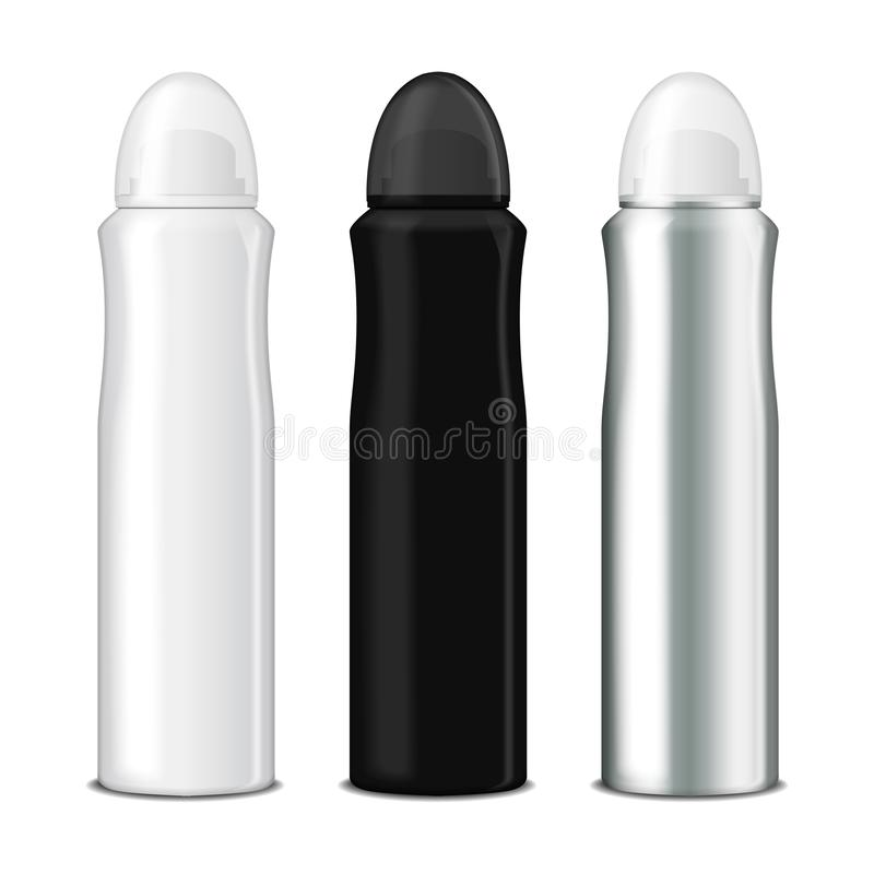 Satz Spray des desodorierenden Mittels Vector scheinbare hohe Schablone der Metallflasche mit transparenter Kappe lizenzfreie abbildung