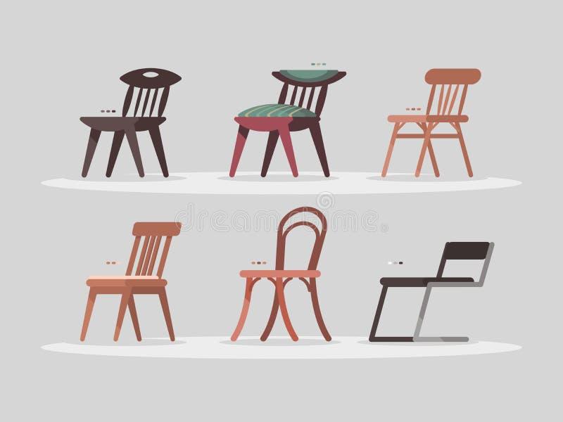 Satz Stühle für Ausgangs- und Büroinnenraum lizenzfreie abbildung