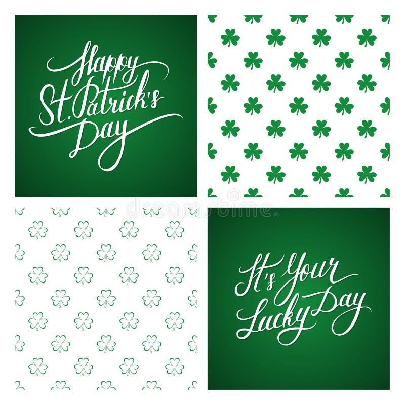 Satz St Patrick Tagesgrußkarten und -hintergründe St Patrick Tagesbeschriftung Nahtloses Muster des Shamrocks vektor abbildung