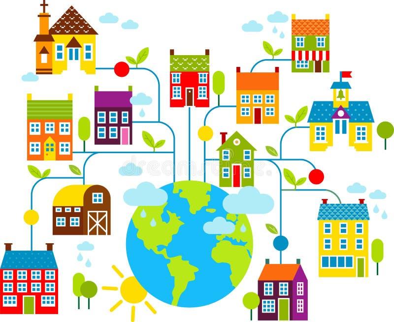 Satz Stadthäuser mit Planetenerde lizenzfreie abbildung