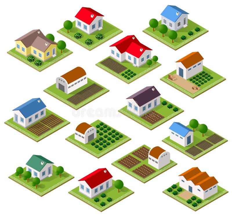 Satz Stadtwohnungen lizenzfreie abbildung