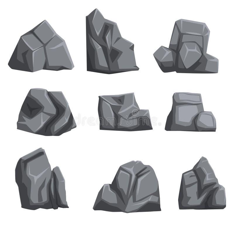 Satz Steine mit Lichtern und Schatten Schaukeln Sie Landschaftsgestaltungselemente von verschiedenen Formen und Schatten des Grau stock abbildung