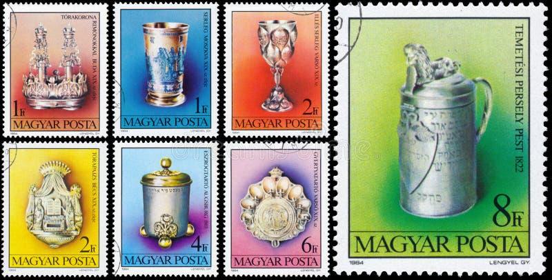 Satz Stempel, die in Ungarn gedruckt werden, zeigt jüdische Schätze stockbilder
