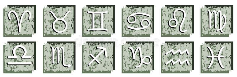 Satz Sternzeichen auf abstraktem Hintergrund stock abbildung