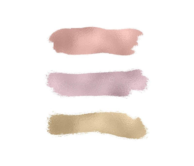 Satz stieg Gold, Bronze, Goldfolienbeschaffenheiten bürsten Farbenanschlag Beflecken Sie Funkelnrosa, glatte Farbe des Scheins au lizenzfreie abbildung