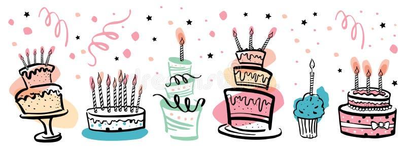 Satz stilisierte Geburtstagskuchen mit Farbstellen und Dekorationsdekorationen Hand gezeichnete Karikaturvektor-Skizzenillustrati lizenzfreie abbildung