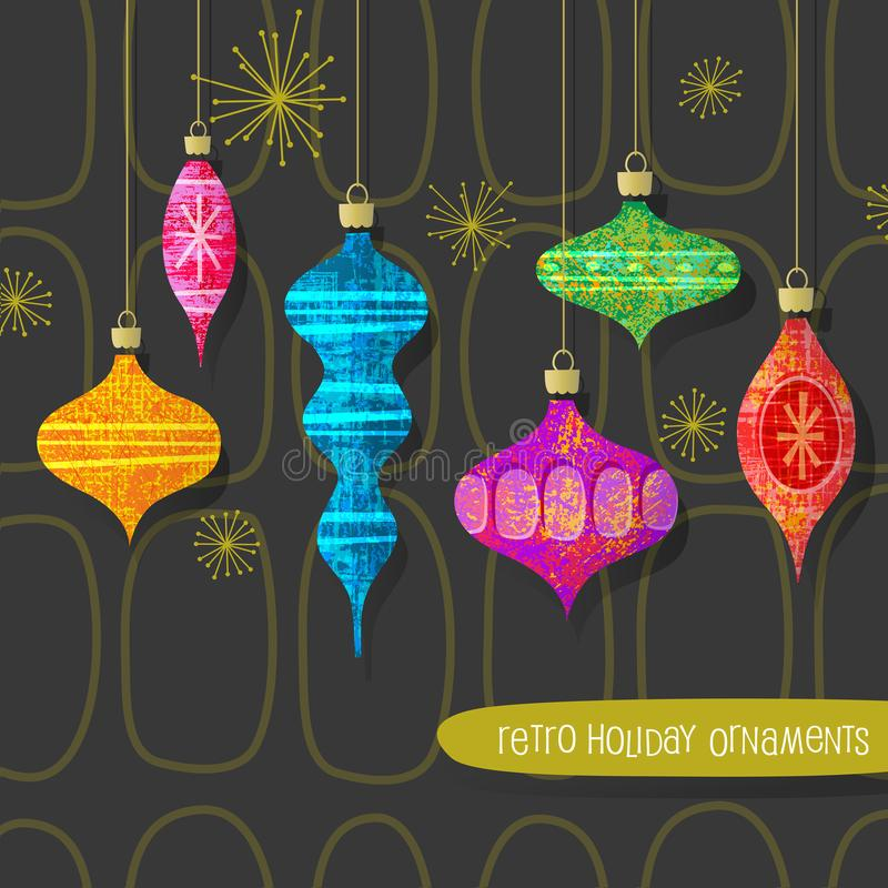 Satz stilisierte Retro- Weihnachtsbaumverzierungen lizenzfreie abbildung
