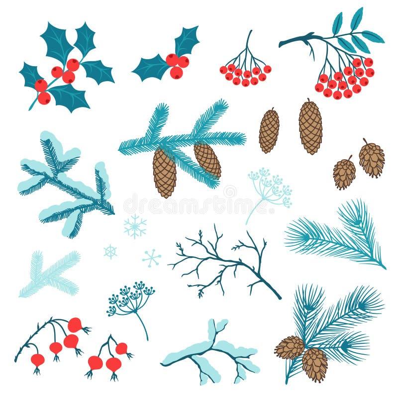 Satz stilisierte Winterniederlassungen der frohen Weihnachten lizenzfreie abbildung
