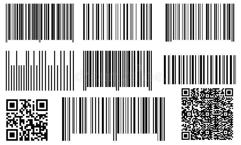 Satz Strichkodes und qr Codes lizenzfreie abbildung