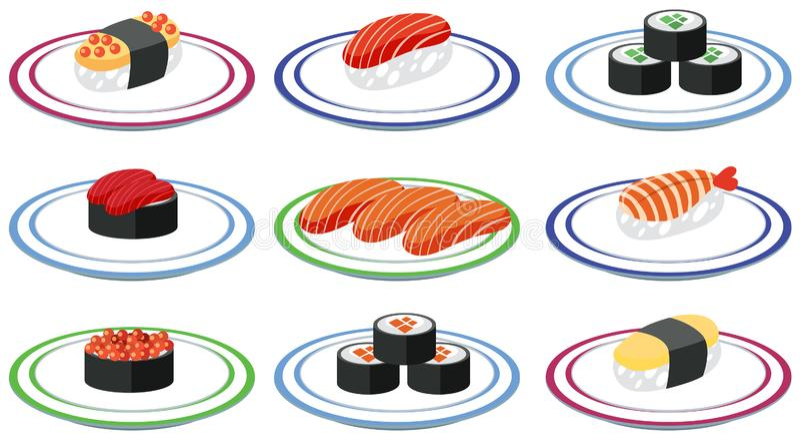 Satz Sushi auf Platte stock abbildung