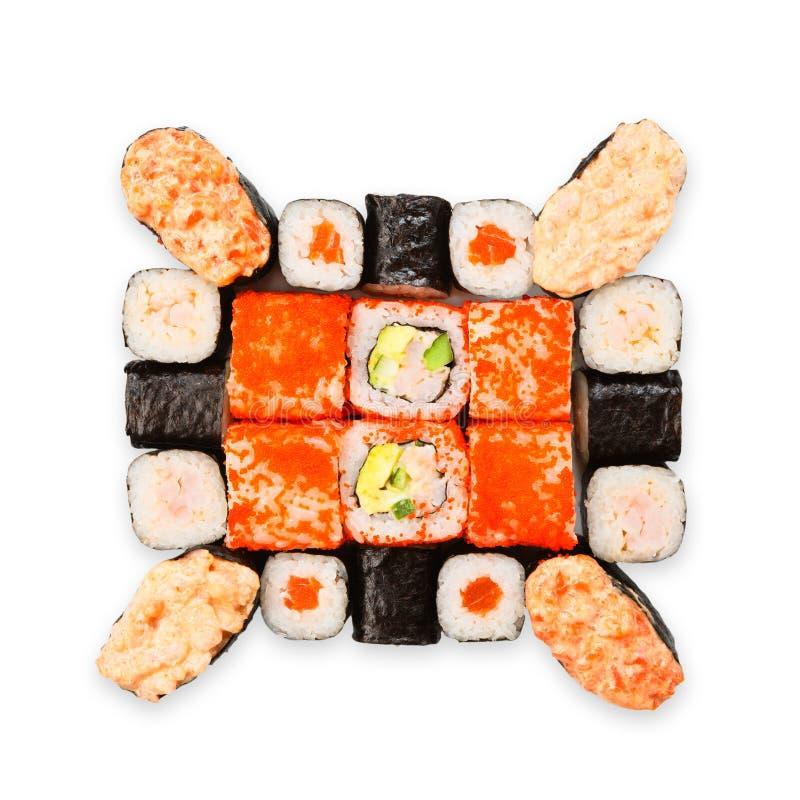 Satz Sushi, maki, gunkan und Rollen lokalisiert am Weiß stockfoto