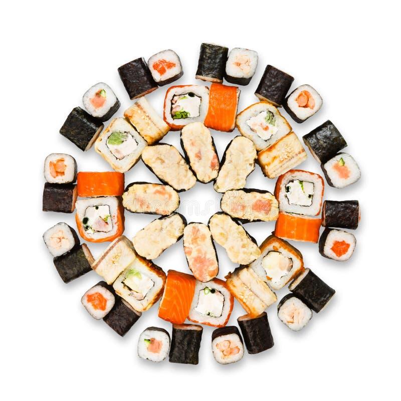 Satz Sushi, maki und Rollen lokalisiert am Weiß lizenzfreie stockbilder
