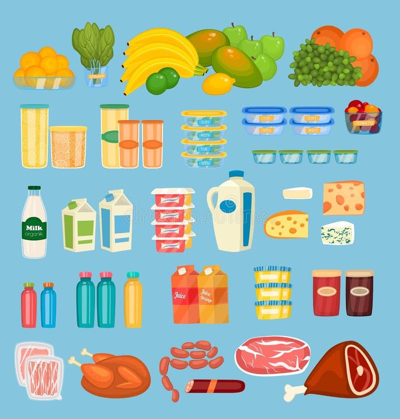 Satz tägliche Nahrungsmittel Colorfuls im flachen Design stock abbildung