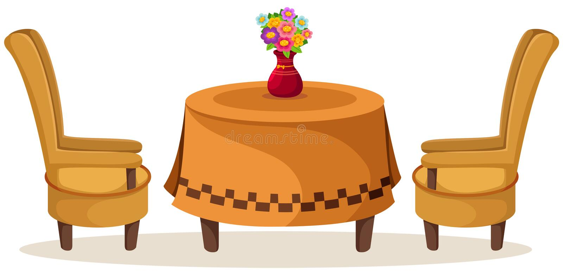 Satz Tabelle und Stühle mit Blumen lizenzfreie abbildung