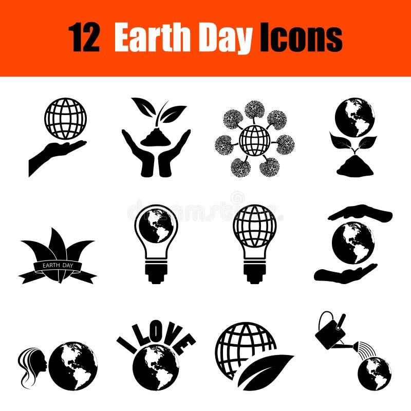 Satz Tag der Erde-Ikonen lizenzfreie abbildung