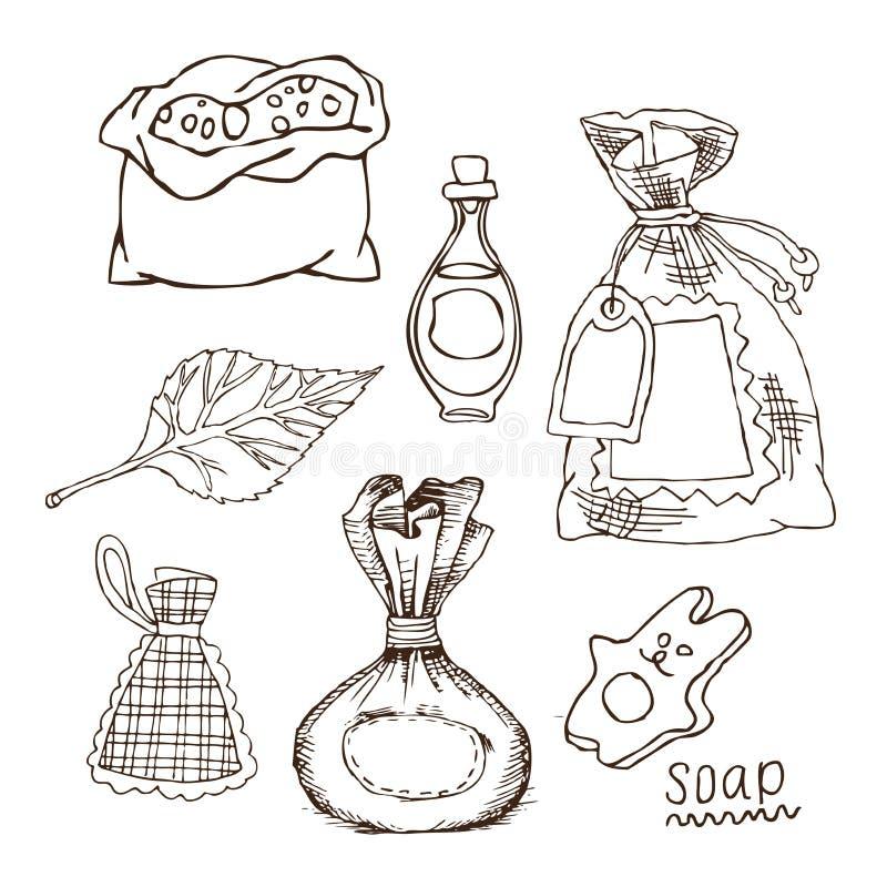 Satz Taschen für Badaromen, Salz, Öl für russisches Bad für Körperhygiene Satz Zubehör für Bad, Sauna Hand lizenzfreie abbildung